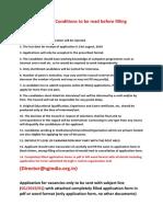 General Tips for Filling Application Form