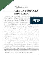 l. v.lossky l'Apofasi e La Teologia Trinitaria