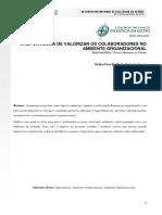 A IMPORTÂNCIA DE VALORIZAR OS COLABORADORES NO AMBIENTE ORGANIZACIONAL