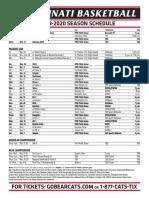 19-20-UC Men's Basketball Schedule