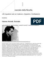 Hanna Arendt, Socrate. _ Pragma Sofia, l'Esercizio Della Filosofia