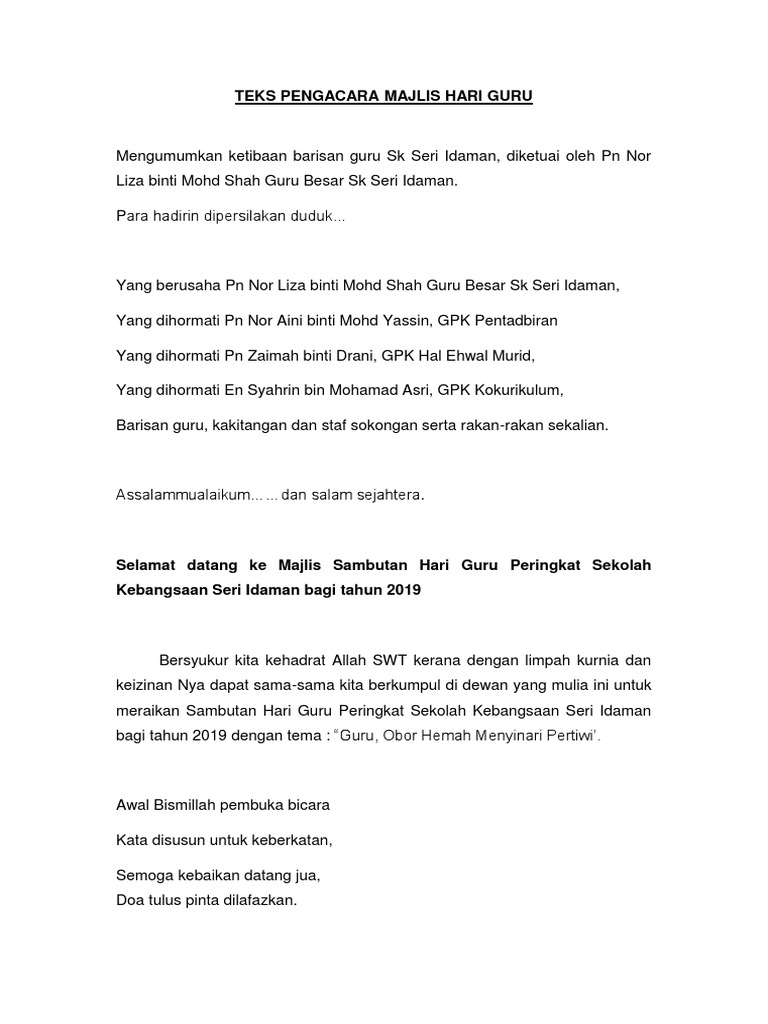 Teks Pengacara Majlis Hari Guru