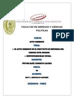 El Acto Jurídico en El Proyecto de Reforma Del Código Civil Peruano.