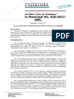 Ordenanza No 10 - 2017. Modifica Reglamento Camal Municipal