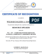Certificate of Recognition to Nc2 Review