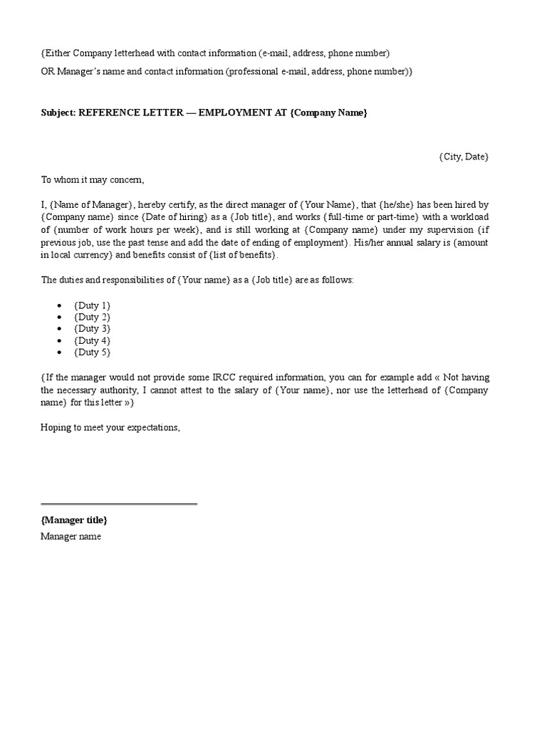 Subject Reference Letter Employment At Company Name