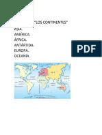 Trabajo de Sociales Continentes