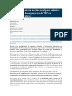 Lectura de Contexto Institucional Para Orientar Estrategias de Incorporación de TIC en Ambientes Escolares