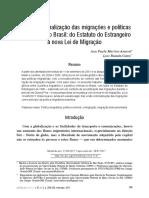 A (Não) Criminalização Das Migrações e Políticas Migratórias No Brasil_ Do Estatuto Do Estrangeiro à Nova Lei de Migração_