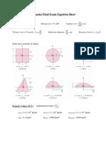 FinalExam Equation Sheet