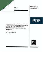 1056-1-91 Criterios Para La Seleccion de Equipos de Proteccion Respiratoria Parte I