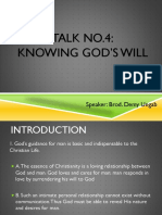 Talk No. 4 Knowing God's Will