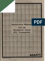 Marti STL-10 Broadcast Aural STL Transmitter Manual