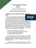 Construction Management NIBM Question