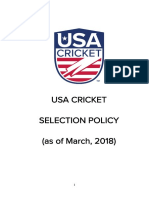2018 USA Cricket Selection Policy FINAL March 2018 1