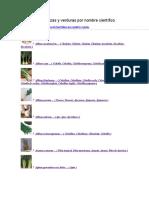 Fichas de Hortalizas y Verduras Por Nombre Científico