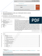 Recent Development on the Uses of Alternative Fuels in Cement Manufacturing Process
