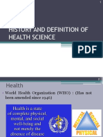 History and Definition of Health science