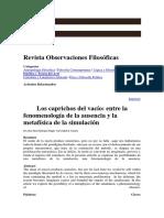 Los Caprichos Del Vacío Entre La Fenomenología de La Ausencia y La Metafísica de La Simulación