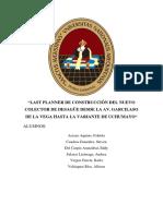 Last Planner de Construcción Del Nuevo Colector de Desagüe Desde La Av