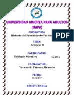 Actividad II Historia Del Pensamiento Politico y Social Eridania Martinez