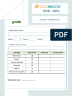 Clave de Respuestas Examen Trimestral Sexto Grado 2018-2019