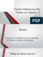 Factors Influencing the Choice of a Spouse