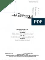 Hawaii Superferry Tariff
