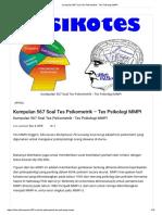 Tes Psikologi MMPI Dan Jawabannya