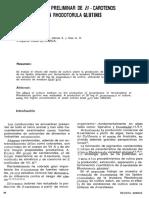 ESTUDIO PRELIMINAR DE B - CAROTENOS EN RHODOTORULA CLUTlNlS