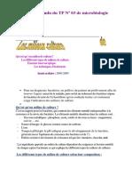 Compte Rendu Du TP Nº 03 de Microbiologie Les Milieux de Culture