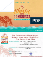 Wc16 a09 the Subcontract Management Body of Knowledge the Competitive Edge