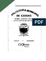 Lei Municipal Nº 1.261_1993 - Estatuto Jurídico Único Do Servidor Do Município de Caxias - MA