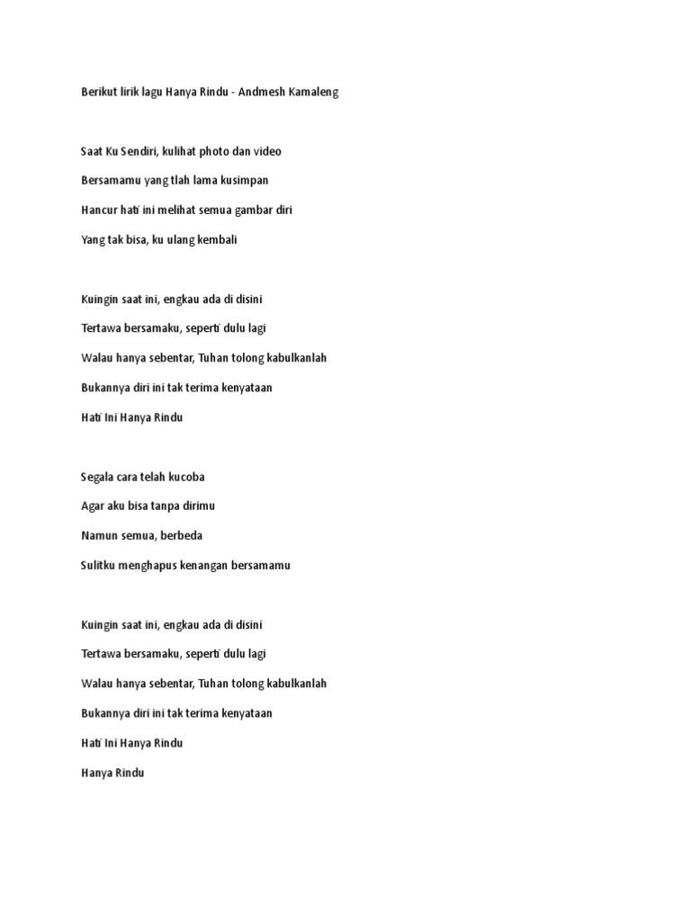 Lirik Hanya Rindu Doc