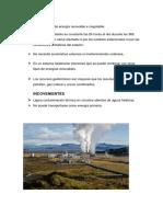Actualidad de Energía Geotérmica en Perú
