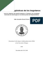 Actitudes Linguisticas de Los Bogotanos Julio Bernal Tesis Doctoral 2016