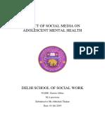Effect of Social Media on Adolescent Mental Health