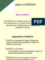 Application of ANOVA