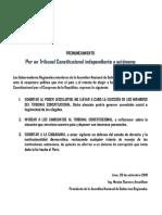 426907592 Pronunciamiento de La ANGR Por Un Tribunal Constitucional Independiente y Autonomo