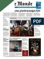 Journal Le Monde Du Dimanche 15 Et Lundi 16 Septembre 2019