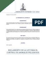 Reglamento de La Ley de Control Animal Ag113