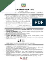 Ibgp 2017 Prefeitura de Andradas Mg Auxiliar Servicos Educacional e Lixeiro Prova