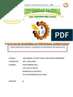 CARACETRISTICAS Fisicas y Quimicas de Materiales No Metalicos
