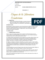 Etapas de La Literatura Ecuatoriana