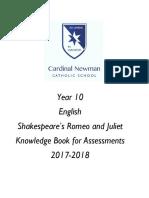 Year 10 ENGLISH Knowledge Book RandJ