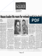 Philippine Daily Inquirer, Sept. 23, 2019, House leader No room for vetoed pork in budget.pdf
