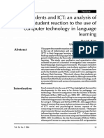 Students and ICT an Analysis of Student Reaction to the Use of Computer Technology in Language Learning