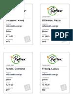 reflex - student login cards