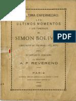 Ultima Enfermedad, Momentos y Funerales de Bolivar - Alejandro P. Reverend