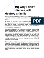 OPINION Divorce Will Destroy Family
